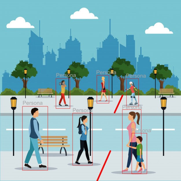 ai counting system on a city or metropolitan area with park, area where people are detected and the direction of people passing over an area using software based on artificial intelligence for people counting, vehicle counting, bicycle counting or counting objects on public roads
